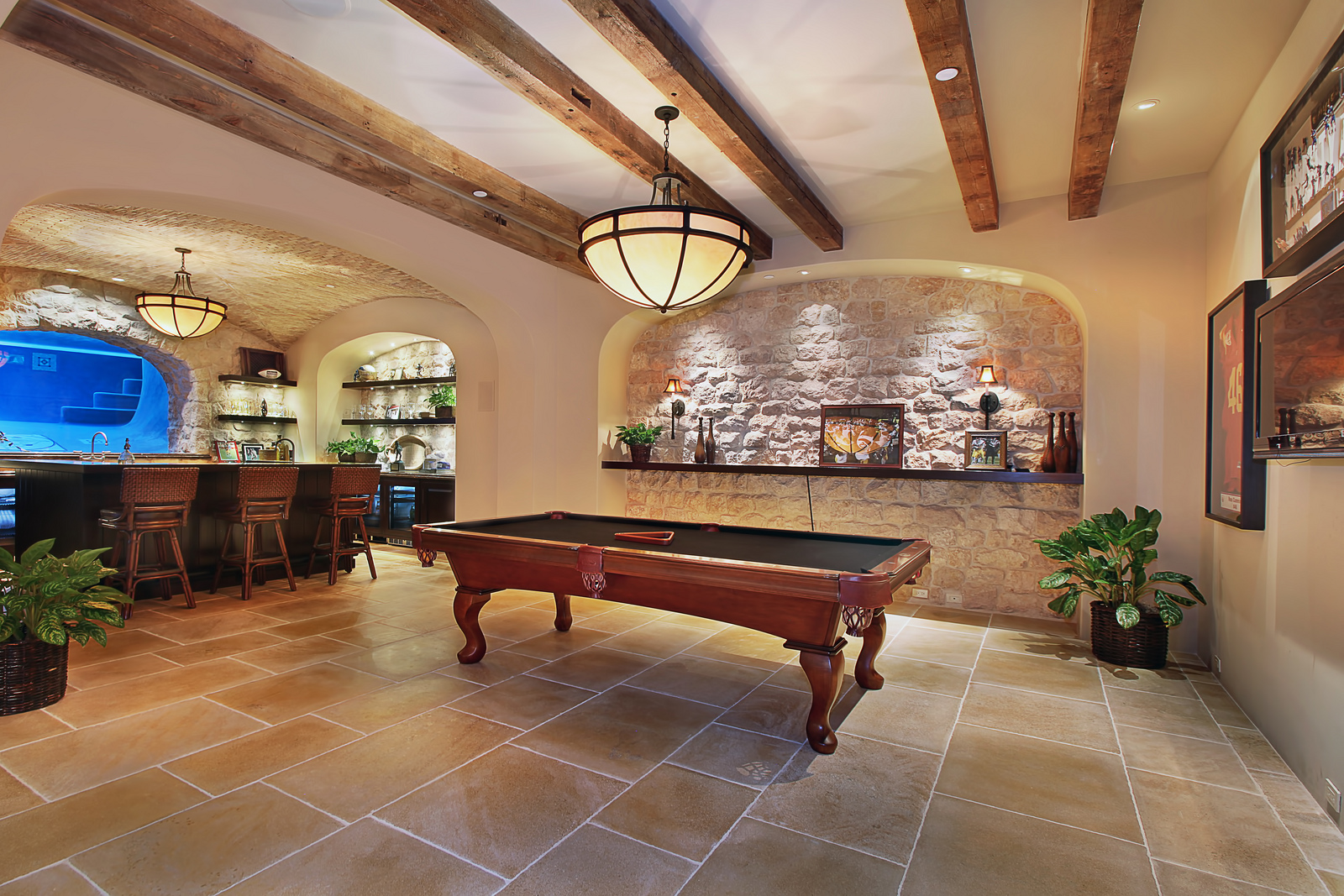 Elegant Home Basement Entertainment Room