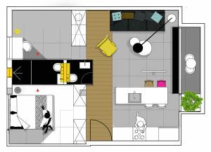 600 Square Foot Modern Apartment Floor Plan