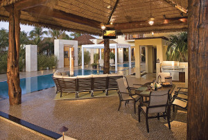 Outdoor Poolside Cocktails Lounge and Summer Kitchen