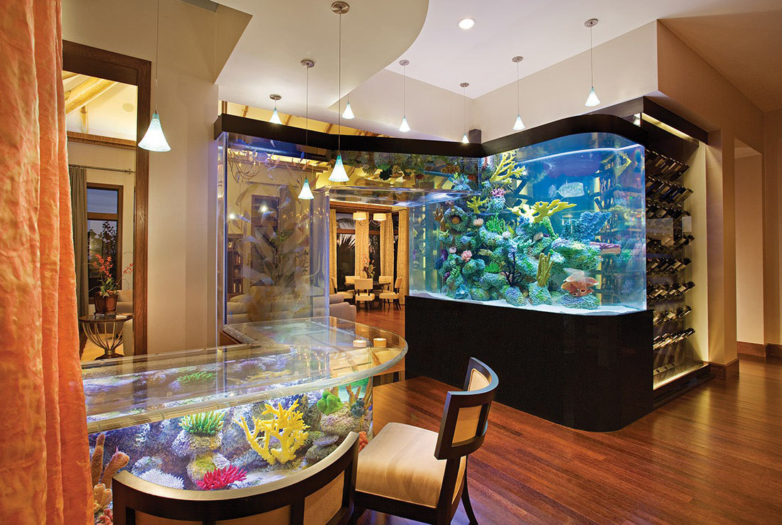 Luxury Home with Aquarium Wet Bar