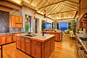 Oceanfront Hawaiian Koa-wood Kitchen and Tropical Hardwood Floors