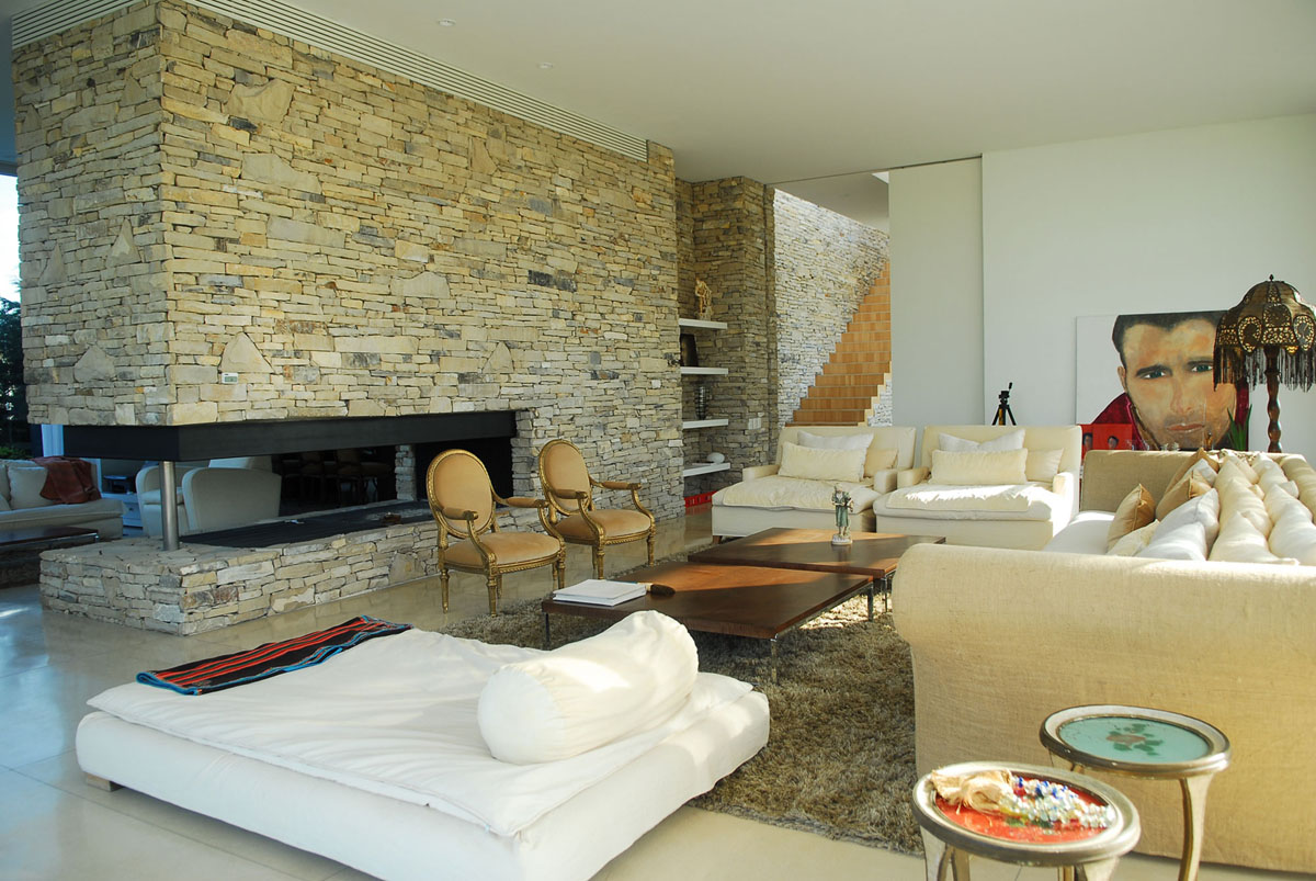 Modern House with Stone Wall