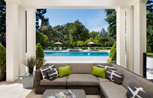 Luxury Outdoor Patio Living with Swimming Pool View