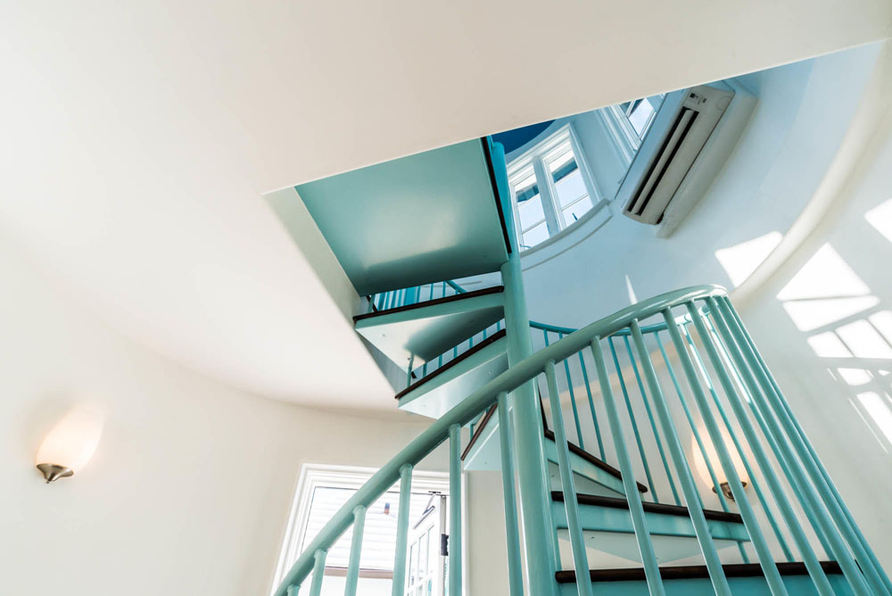 Interior Turquoise Metal Spiral Staircase