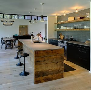 Rustic Modern Kitchen with Reclaimed Barn Wood Cabinetry