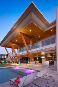 Modern Home with Large Cantilevered Roof