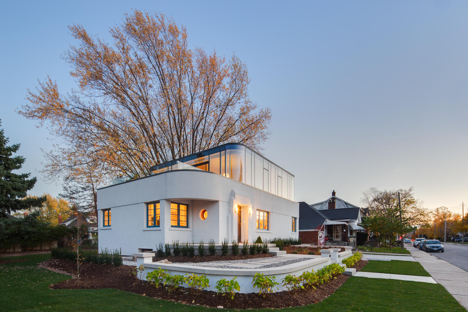 A Modern Art Deco Home Visualized In Two Styles: A Restored Heritage Home With Art Moderne Architecture