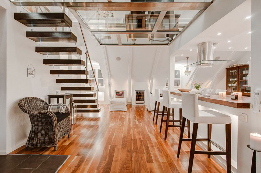 Stylish Penthouse with Wood and Glass Staircase