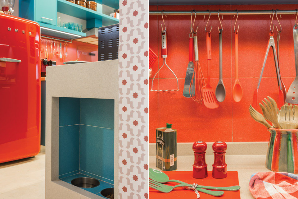 Vibrant Kitchen Design With Azure Blue And Red Orange