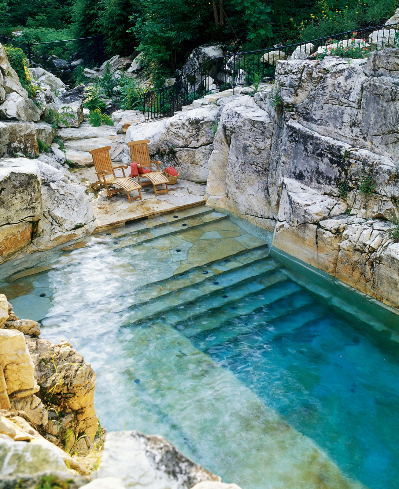 Natural Backyard Swimming Pool Converted From An Old Limestone