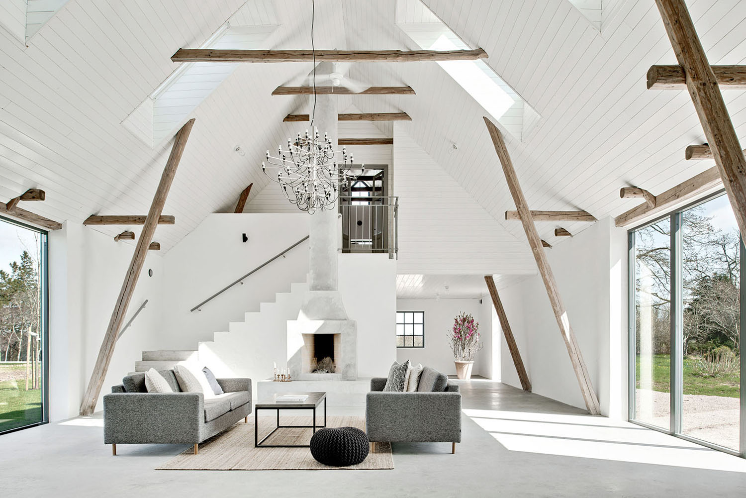 An old barn in sweden is converted into a modern country home