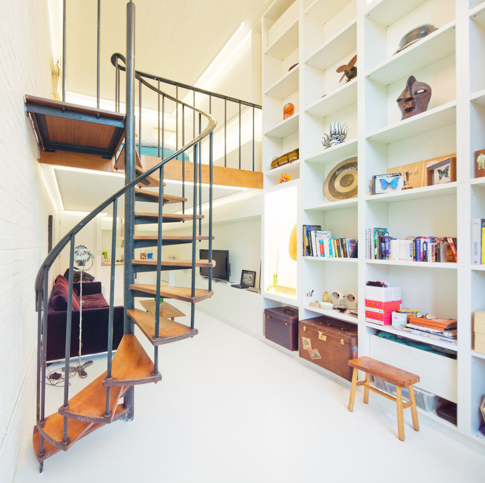 Compact Spiral Staircase: Compact Loft Apartment With Spiral Staircase