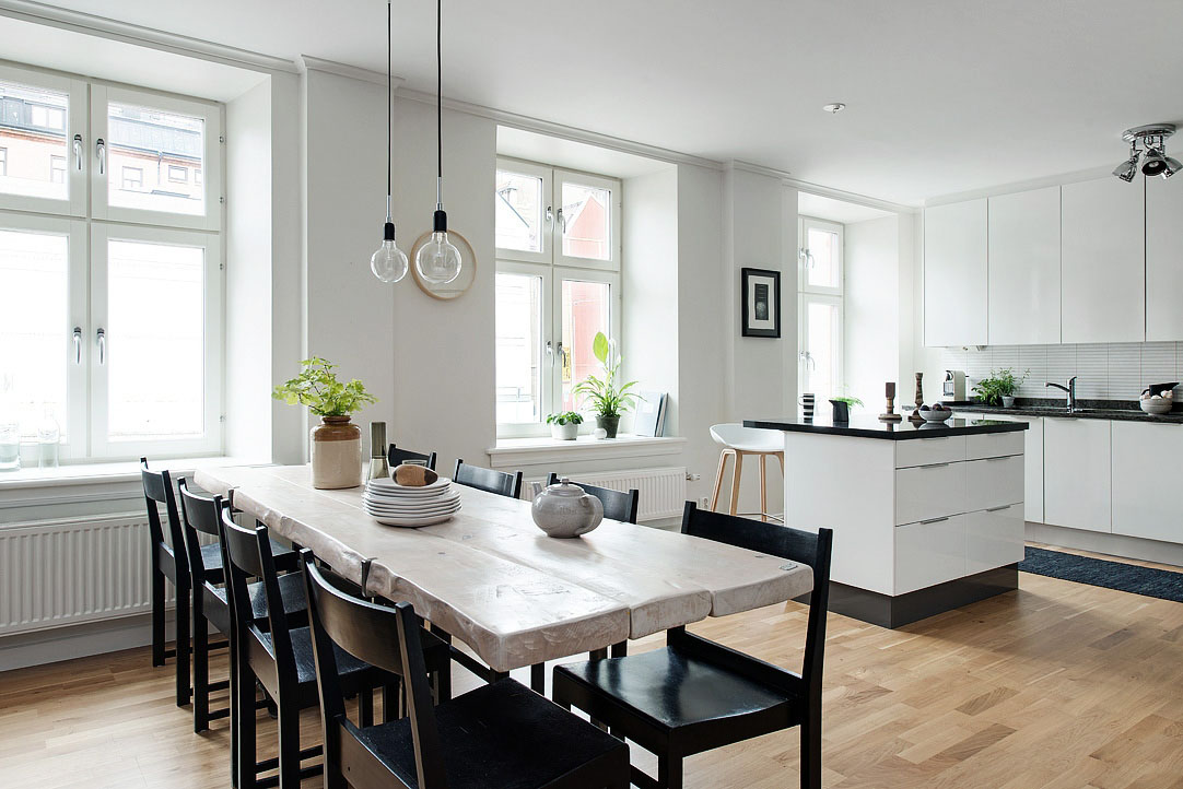 Black And White Themed Scandinavian Apartment With Modern