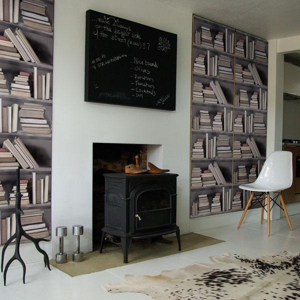 Fake Bookshelf Wallpaper Idesignarch Interior Design Architecture Amp Interior Decorating