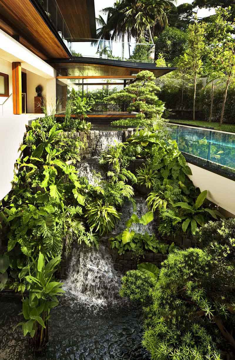 Tropical House with Waterfall