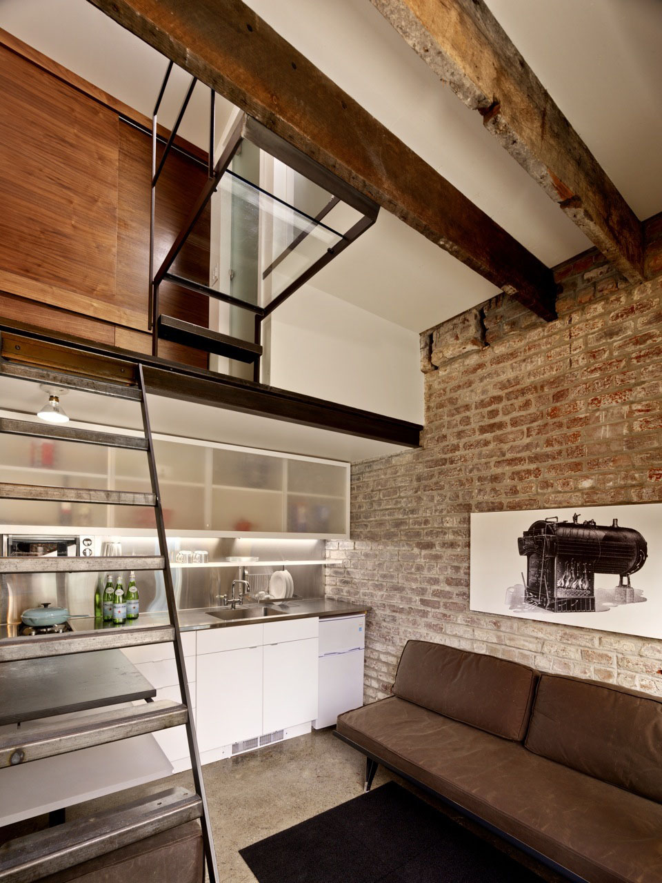 Micro Apartment Loft with Brick Wall and Glass Landing