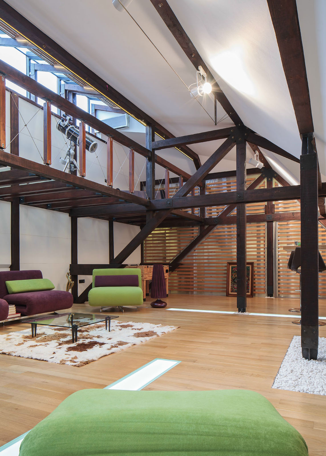Attic Loft with Wood Beams