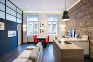 Modern Apartment with Brick Wall