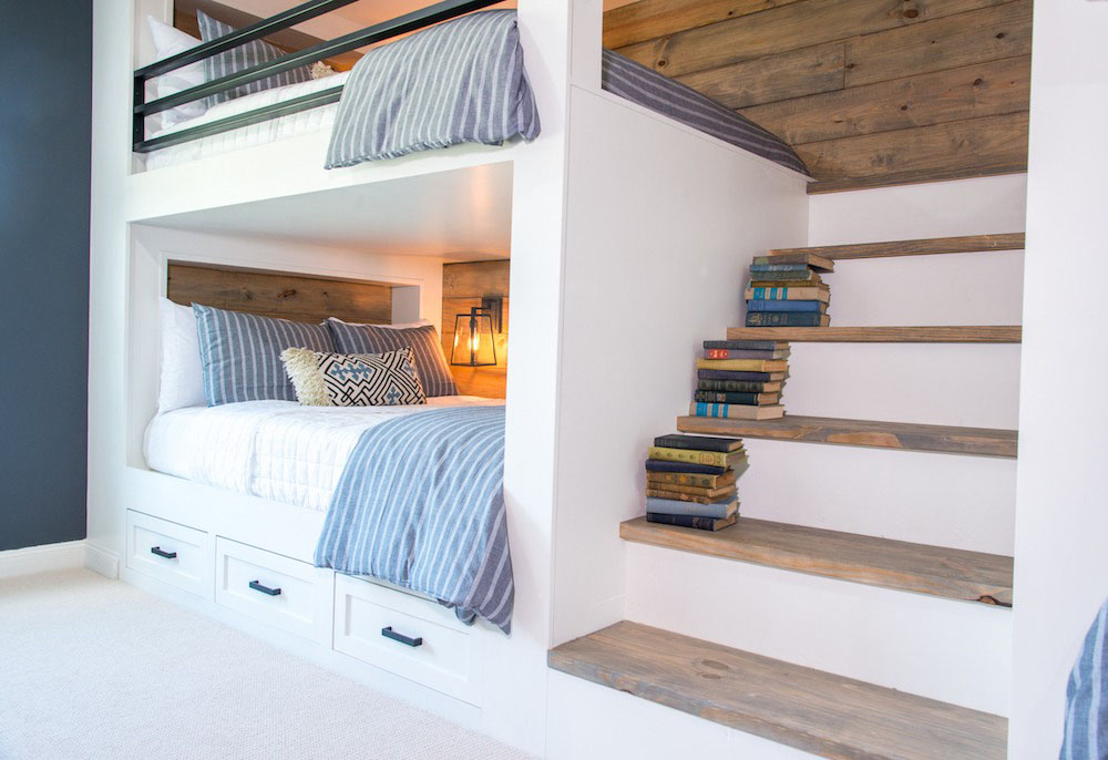 Bunk Room With Full Staircase And Queen Size Bunk Beds 3