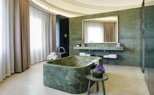 Green Carrara Marble Bathroom