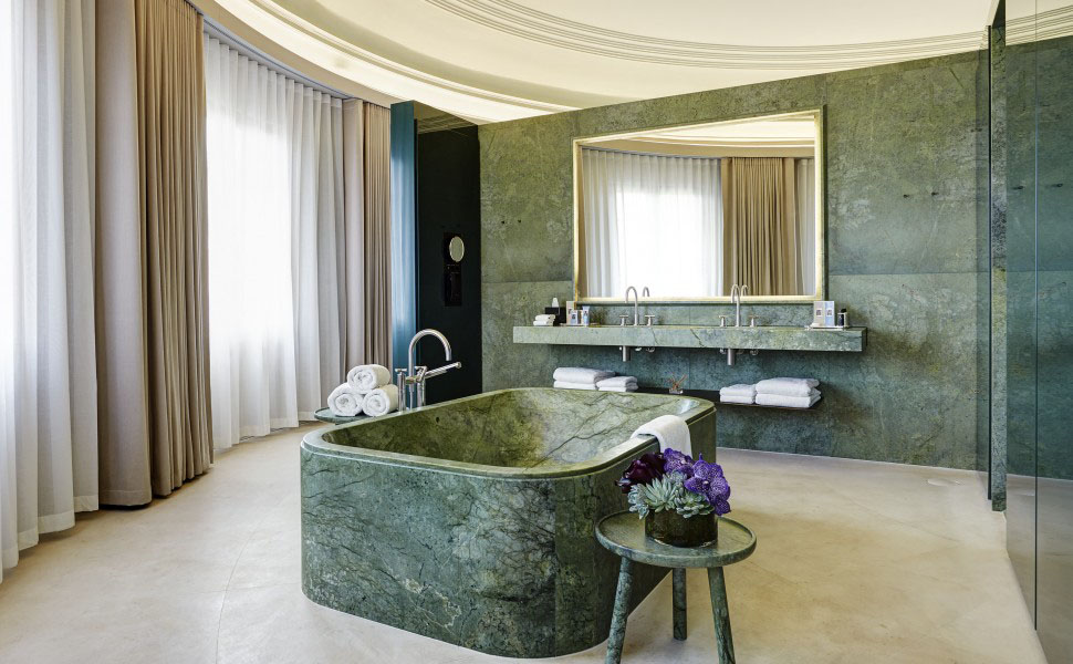 Green Carrara Marble Bathroom