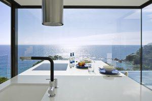 Modern Kitchen with stunning ocean view