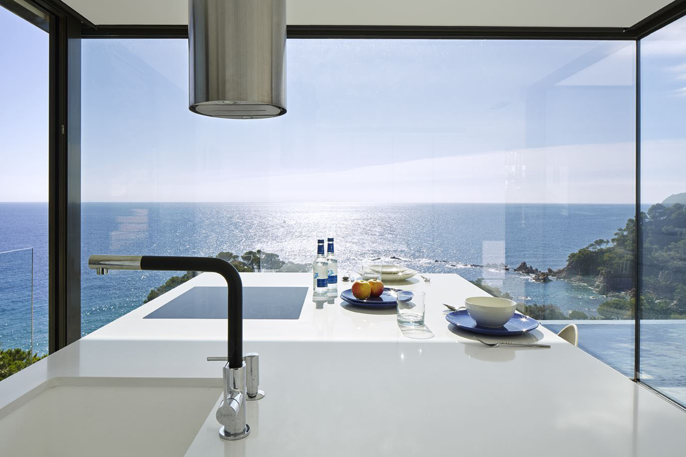 Modern Kitchen with stunning ocean view