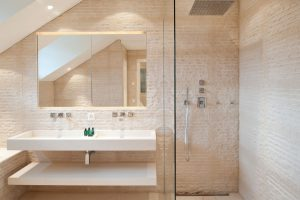 Modern Bathroom with Original Rustic Stone Wall