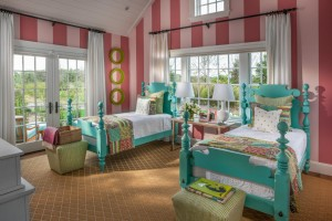 Colorful Kids' Bedroom with Turquoise Beds
