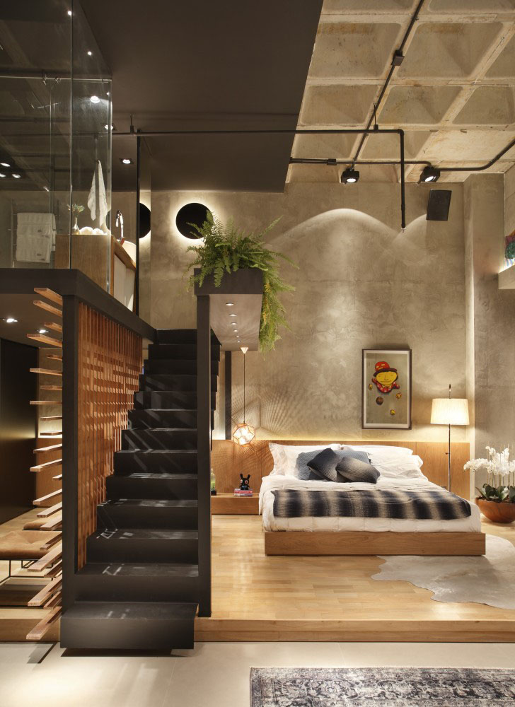 Modern Loft Apartment Bedroom: Unique Modern Loft Apartment With Elevated Glass Bathroom
