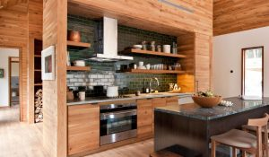 Modern Country Kitchen with Natural Wood Cabinets