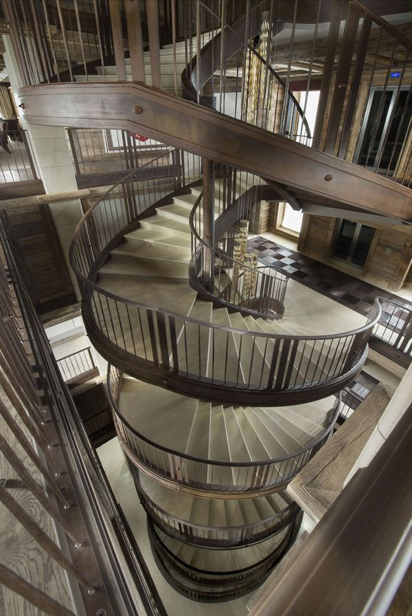 Rustic Grand Spiral Staircase