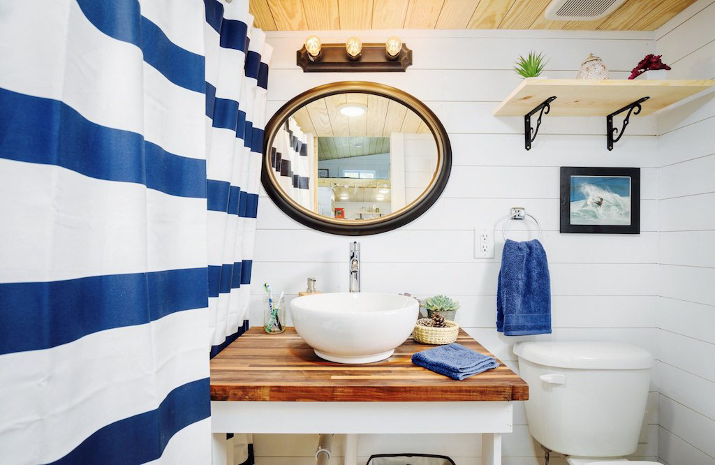 Nautical inspired Theme Tiny House Bathroom