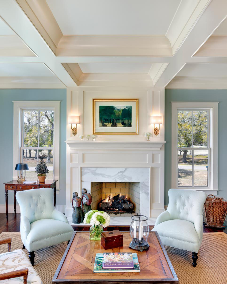 Traditional Living Room Features Coastal Color Palette