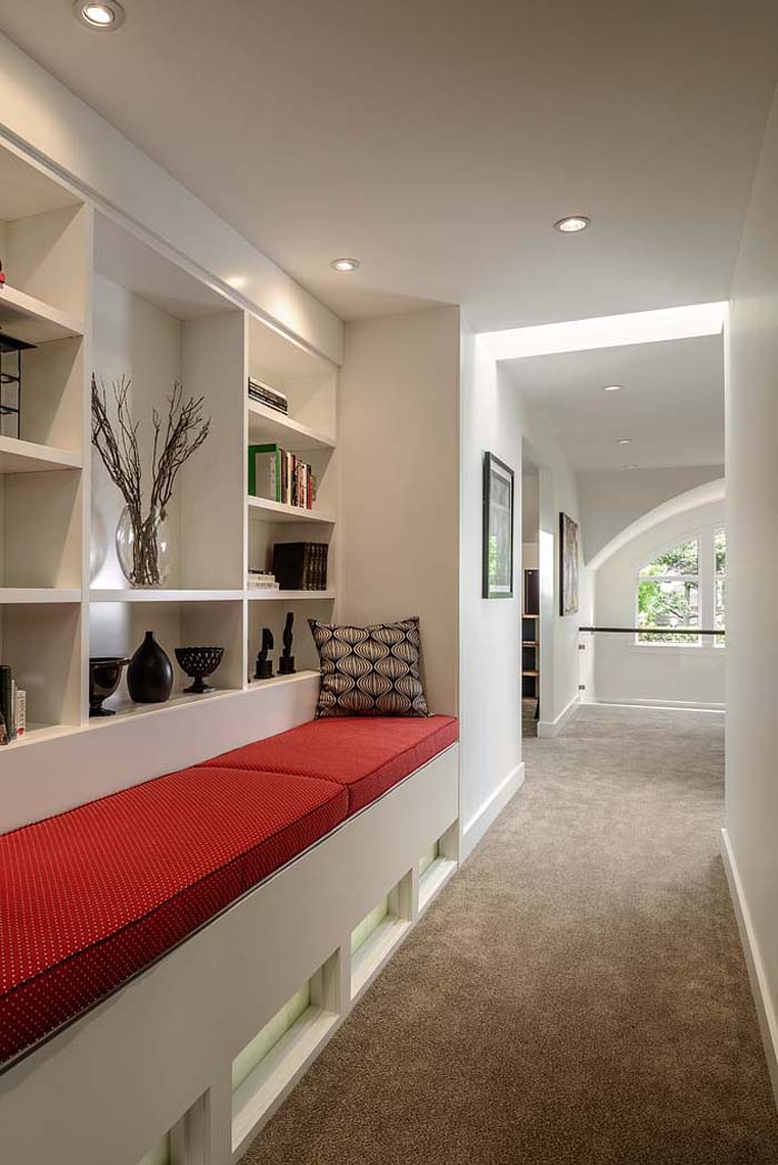 Elegant Hallway Bench with Bookshelf