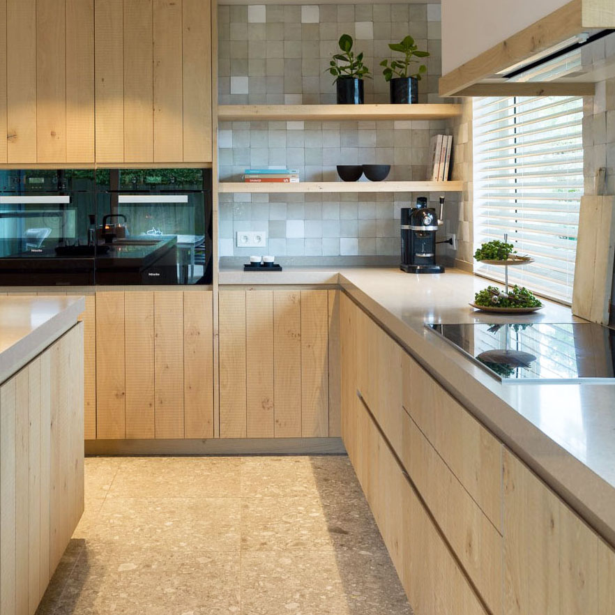 Rustic Modern Kitchen with Light Natural Wood Cabinets