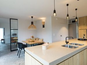 Modern Kitchen with Granite Countertop and Light Wood Cabinet