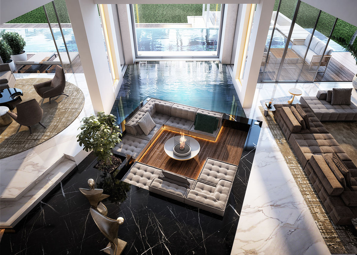 Open Concept Sunken Living Room Surrounded By Indoor Pool And Black Marble Idesignarch Interior Design Architecture Interior Decorating Emagazine