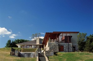Contemporary House made of wood and stone