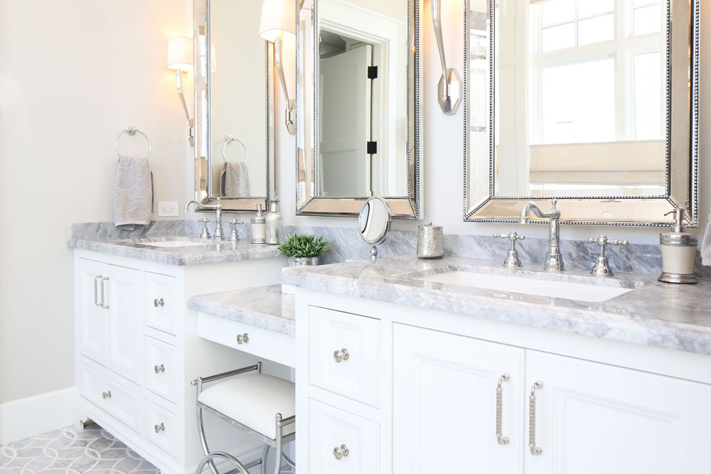 White Bathroom with Marble Countertop