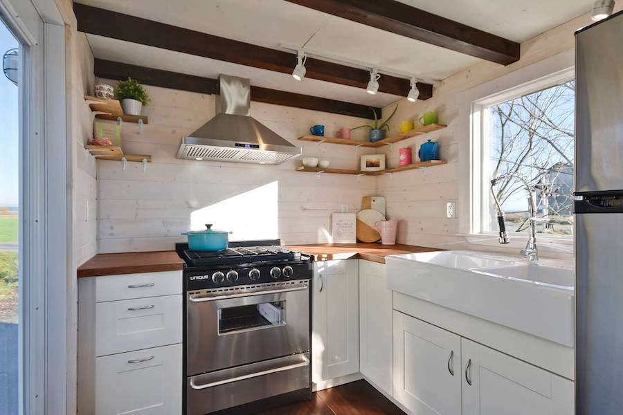 Custom Mobile Tiny House With Large Kitchen And Two Lofts ... on tiny house kitchens and bathrooms, tiny home modern kitchen, genius kitchen storage ideas, california kitchen ideas, manhattan kitchen ideas, tiny design ideas, small cabin kitchen ideas, tiny home outdoor living, tiny home gardening, tiny houses on wheels, tiny art ideas,