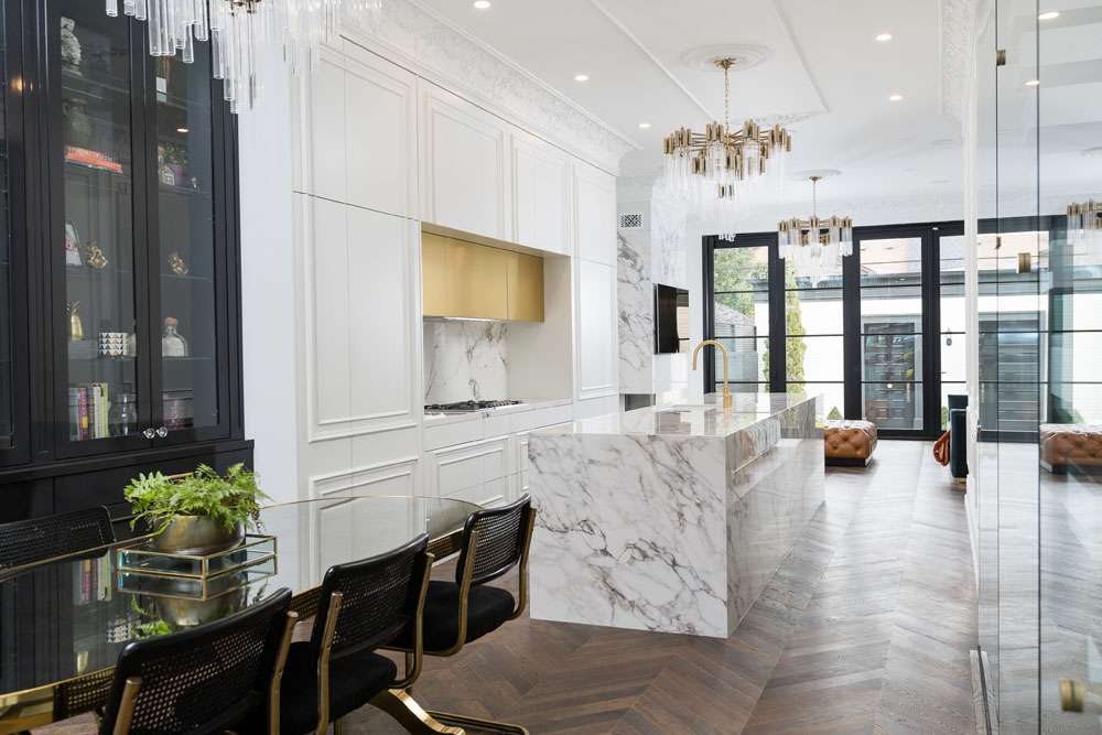 Marble White Kitchen with Hidden Appliances