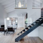 Double-Height Loft with Wood, Iron and Glass Staircase to the Mezzanine