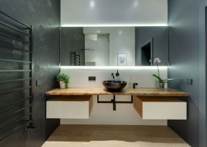 Modern Bathroom with Wood Countertop