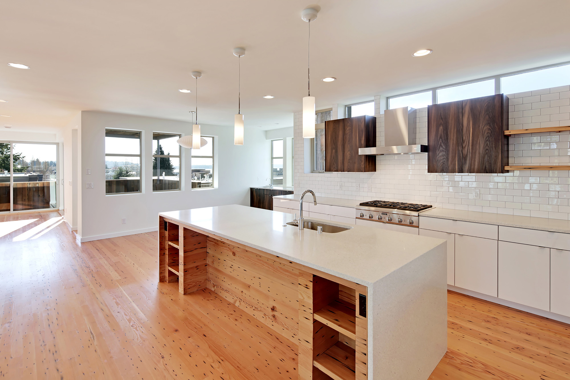 Modern Kitchen with Wood Shelves and Quartz Countertop