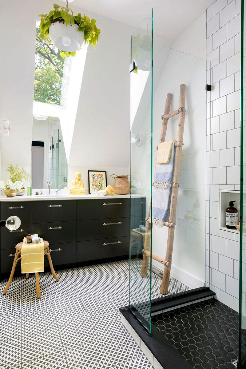 Contemporary Bathroom with Skylight