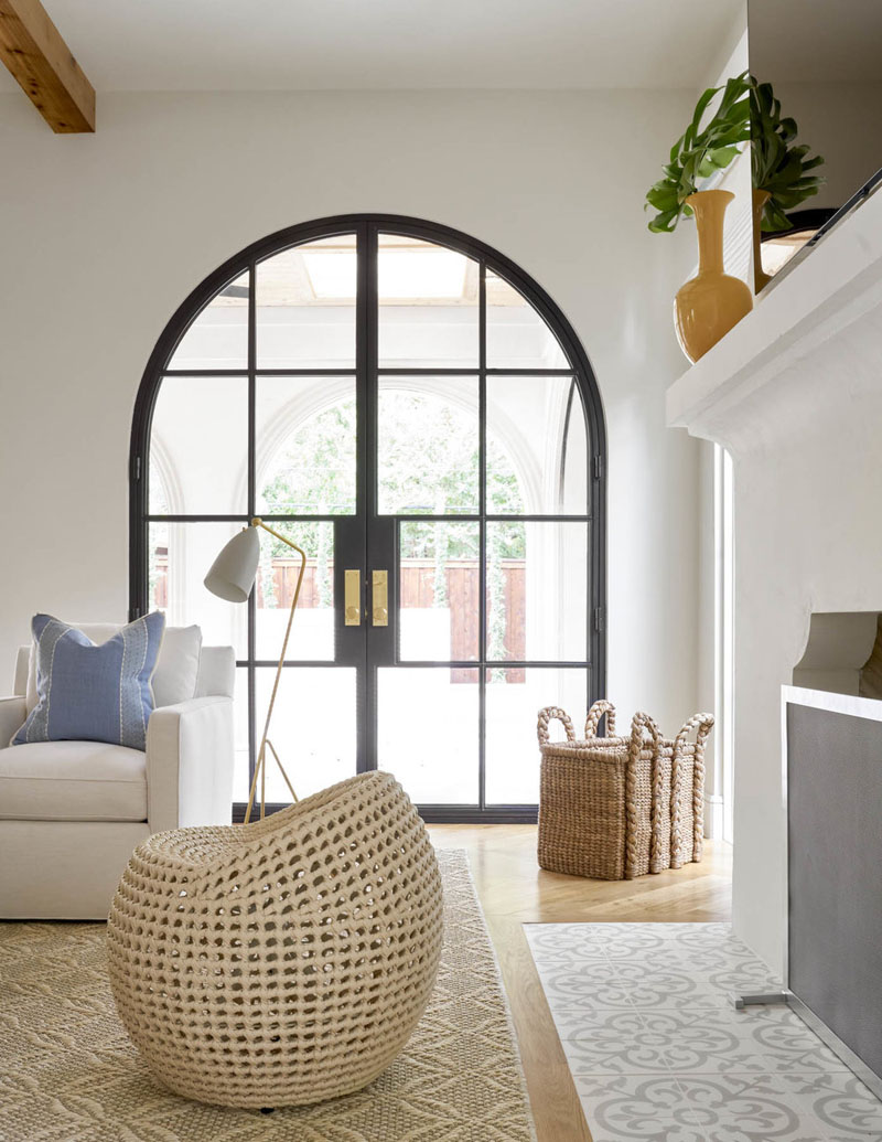Glass Arch Door with Metal Frame