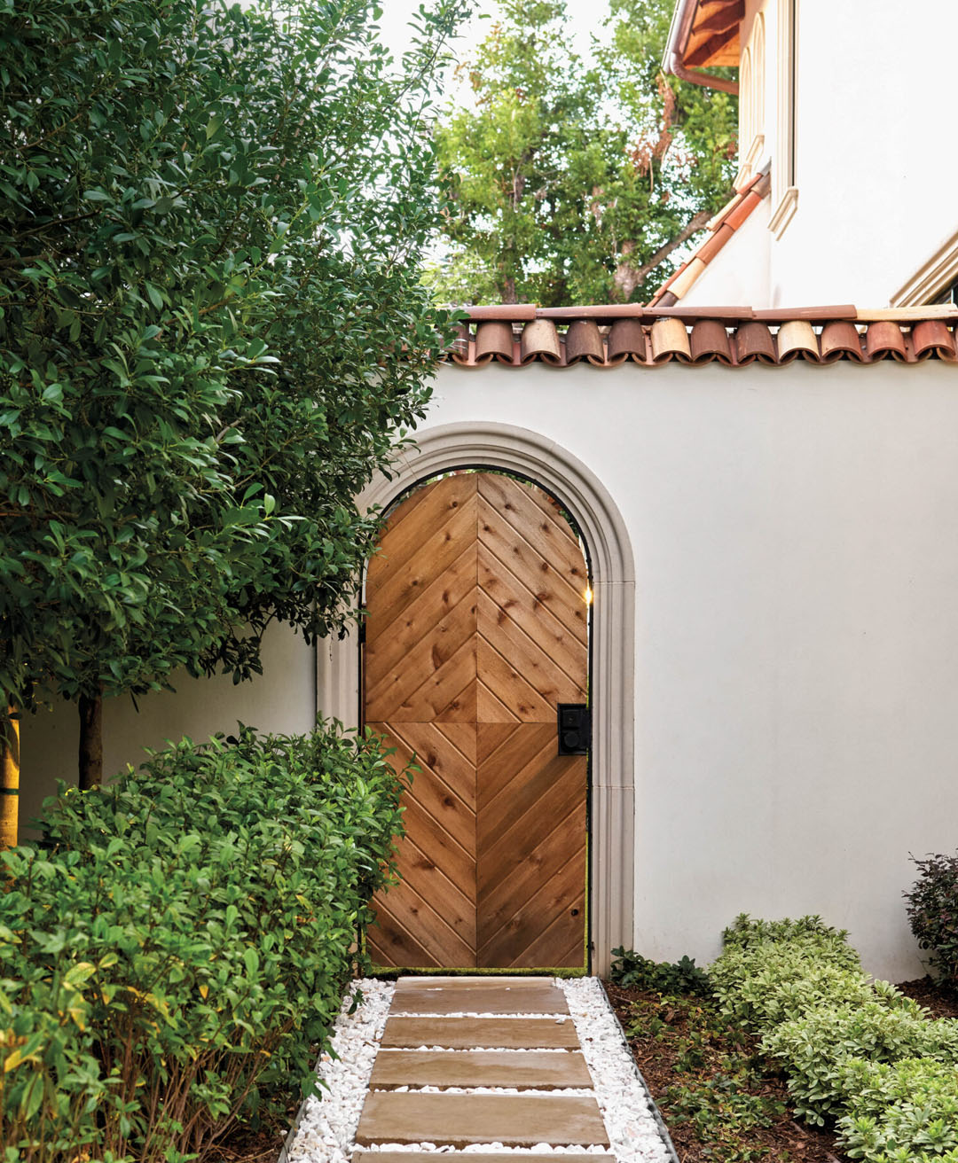 Wooden Arch Door and Red Clay Roof Tiles
