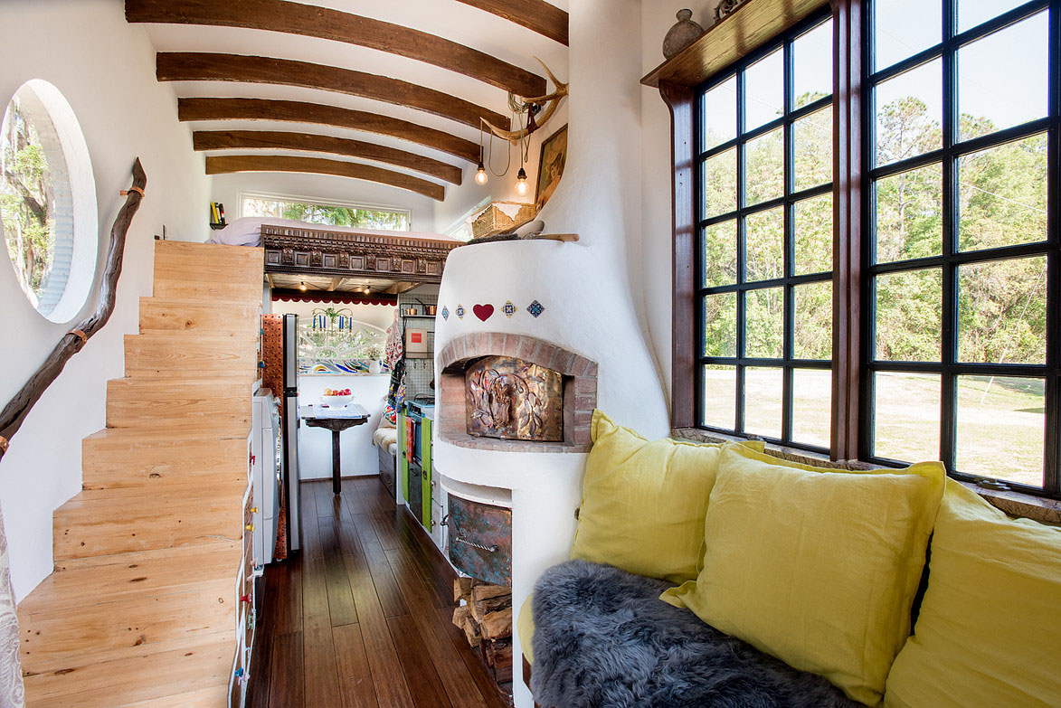 Bohemian Tiny House Constructed Using Reclaimed and Handmade Materials  iDesignArch  Interior