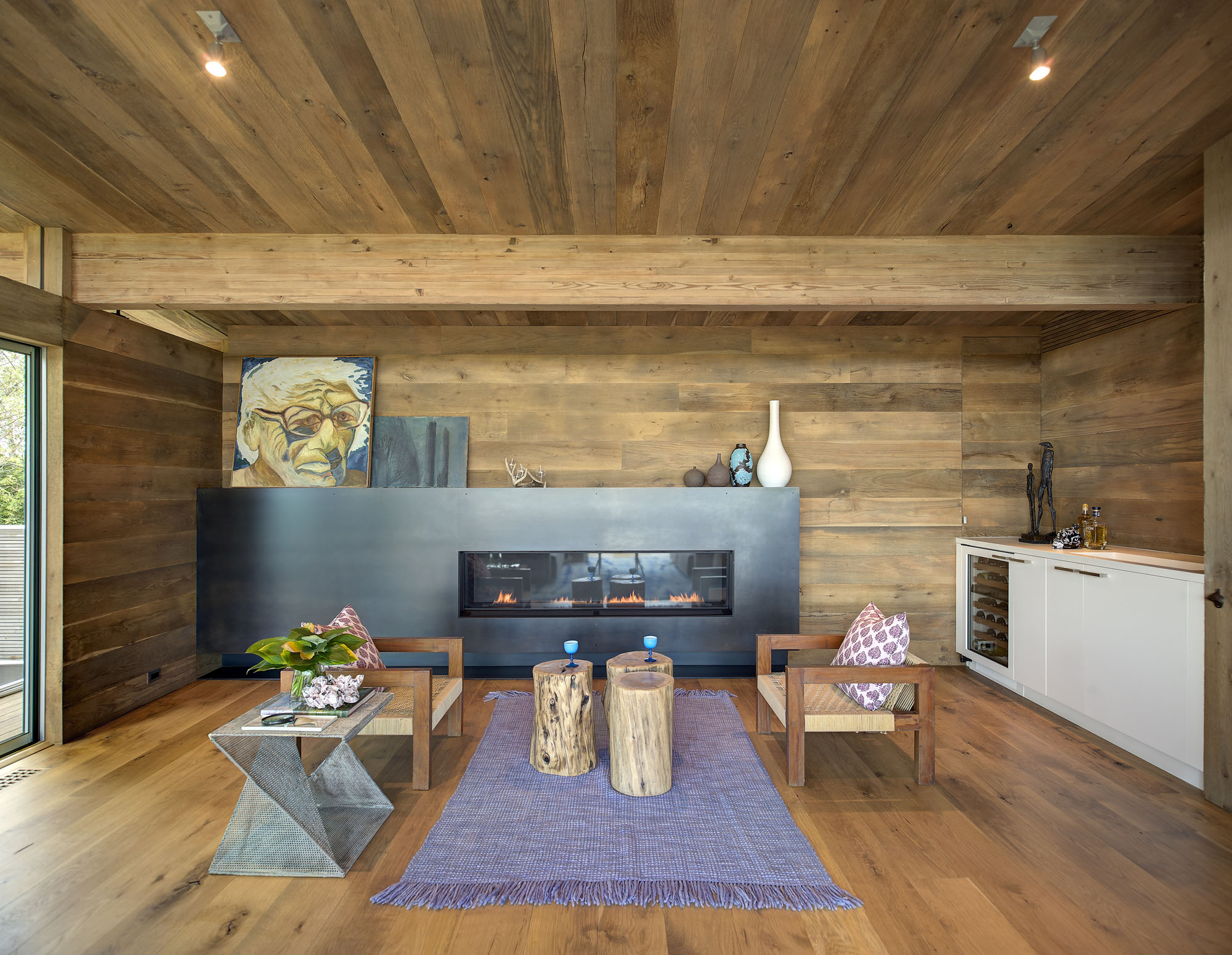 Wood Ceilings, Wood Walls, Wood Floors Living Room